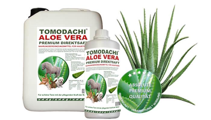 Tomodachi Aloe Vera für Hunde, Katzen, Pferde und Kleintiere - Premium Direktsaft mit der Urkraft der reinen Aloe Vera