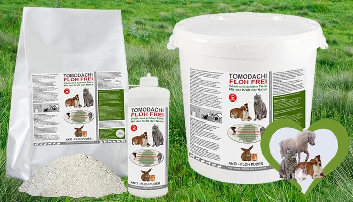 Tomodachi Flohfrei - natürliches feines Kieselgurpuder, chemiefreie Flohbeseitigung auf natürliche Art, tötet Flöhe, Wanzen und Milben augenblicklich ab.