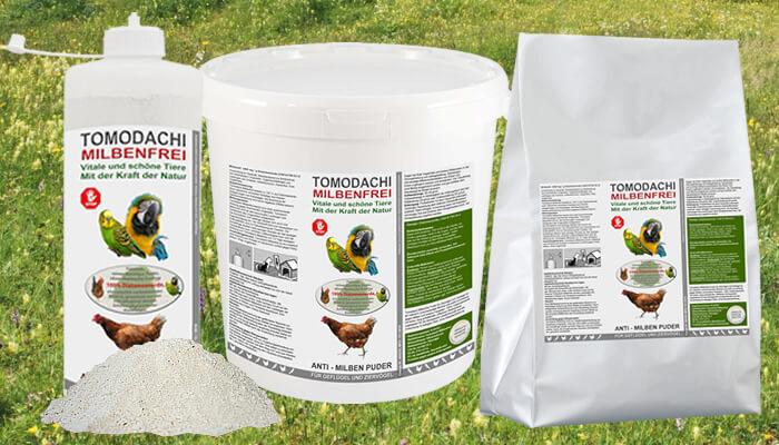 Tomodachi Milbenfrei - Naturprodukt, feines natürliches Kieselgurpuder gegen die Rote Vogelmilbe und andere Milbenarten verbannt Milben, Wanzen, Flöhe und andere Schädlinge blitzschnell aus Ihrem Haus und von Ihrem Haustier!