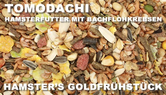Hamsterfutter mit Bachflohkrebsen Tomodachi Hamsters Goldfrühstück mit Gemüse, Getreide und Gammarus