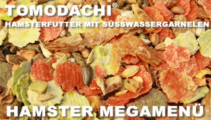 Das MegaMenü für Hamster von Tomodachi lässt keine Wünsche offen - Süßwassergarnelen, leckeres Gemüse, Getreide, Kerne, Nüsse - da kann kein Hamster widerstehen
