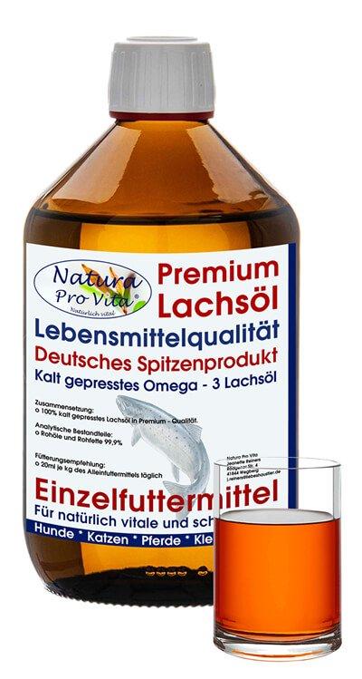 Natura Pro Vita Omega 3 Lachsöl in Spitzenqualität - Naturprodukt, Qualität Made in Germany, für gesunde und schöne Tiere.