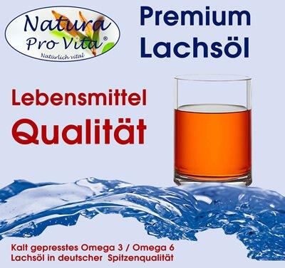Kalt gepresstes Premium Lachsöl in Lebensmittelqualität, Omega 3 Lachsöl für gesundes Fell, gegen Leberprobleme, Nierenprobleme, Stoffwechselprobleme bei Hund, Katze und Pferd.